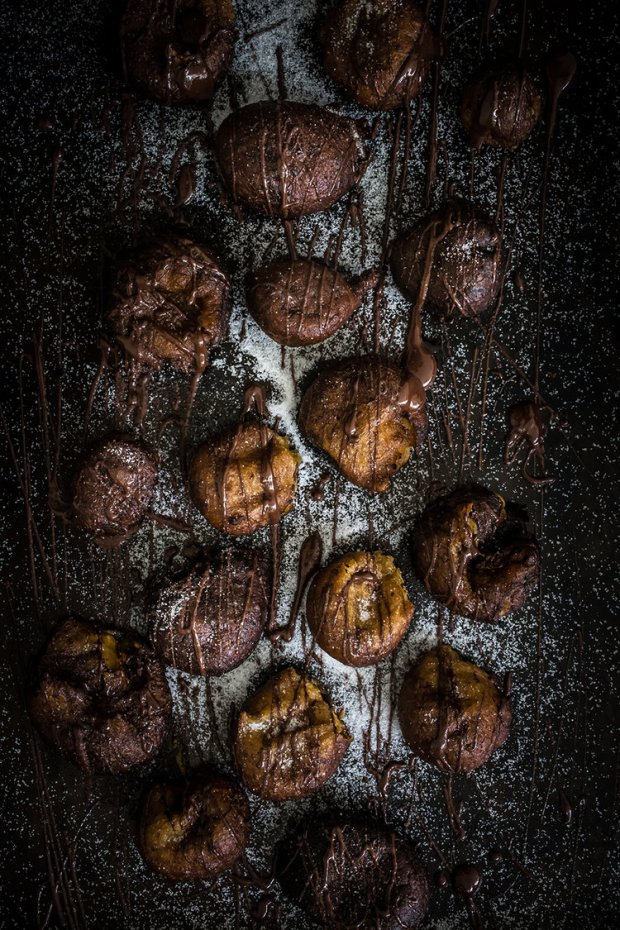 Pumpkin Doughnut Bites with Chocolate Drizzle