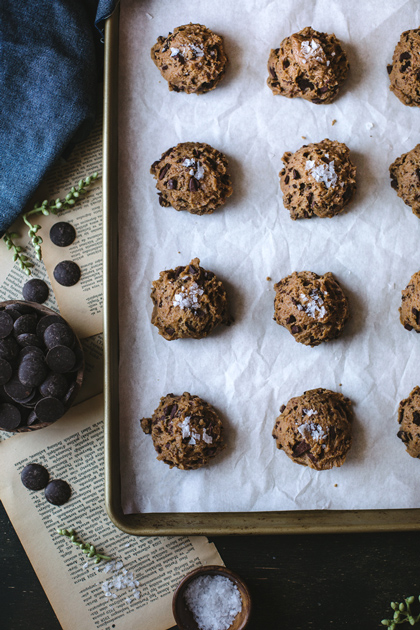 Raw Dough of Chocolate Chip Cookies with Sea salt