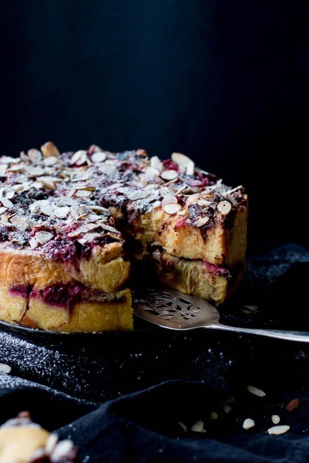 raspberry-rhubarb-dark-chocolate-bread-butter-pudding-cake-12