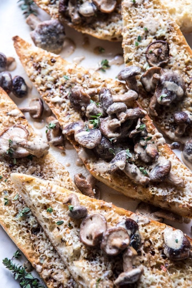 Caramelized-Garlic-Butter-Toast-with-Pan-Fried-Mushrooms-5